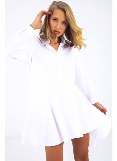 Emjey Asimetrik Kesim Gömlek Elbise Beyaz